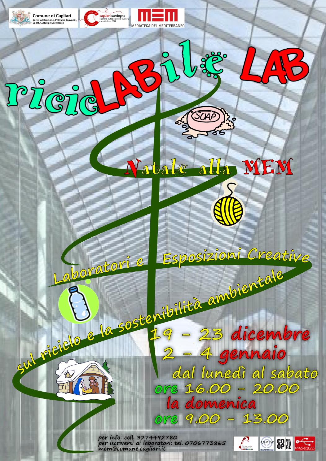 Riciclabile Lab Natale alla MEM di Cagliari dal 19 al 23 dicembre 2014 e dal 2 al 4 gennaio 2015.