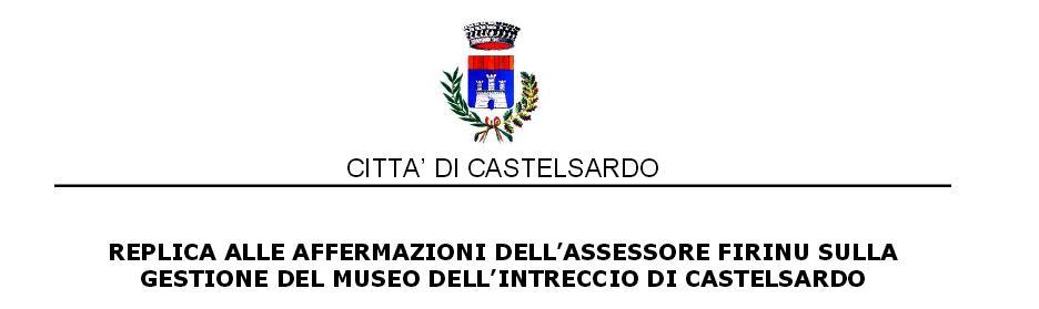 Città di Castelsardo - Replica all'Assessore Regionale della Pubblica Istruzione e Beni Culturali Claudia Firino