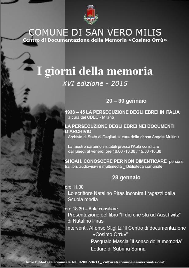 """L'amministrazione comunale di San Vero Milis organizza diverse iniziative per """"I giorni della memoria"""" 2015."""