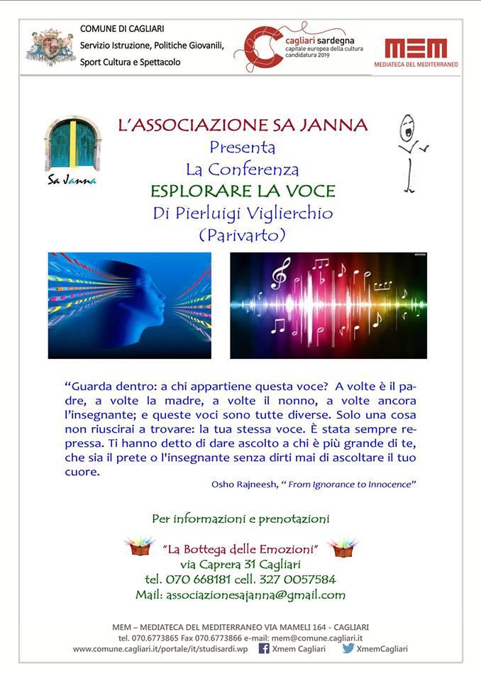 """Venerdì 23 gennaio - Esplorare la voce. Cagliari 23 gennaio 2015 al MEM in via Mameli 164 si terrà la conferenza gratuita di Pierluigi Viglierchio (Parivarto) """"Esplorare la voce""""."""