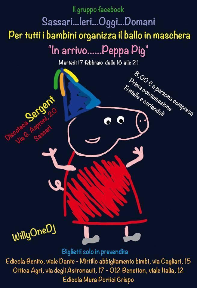 Sassari 17 febbraio martedì grasso al Sergent Club festa in maschera per bambini in compagnia di Peppa Pig.