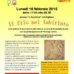Alghero 16 febbraio 2015 corso di animazione alla lettura Il filo nel labirinto a cura di Emanuele Scotto con la partecipazione di Pierluigi Caròla.