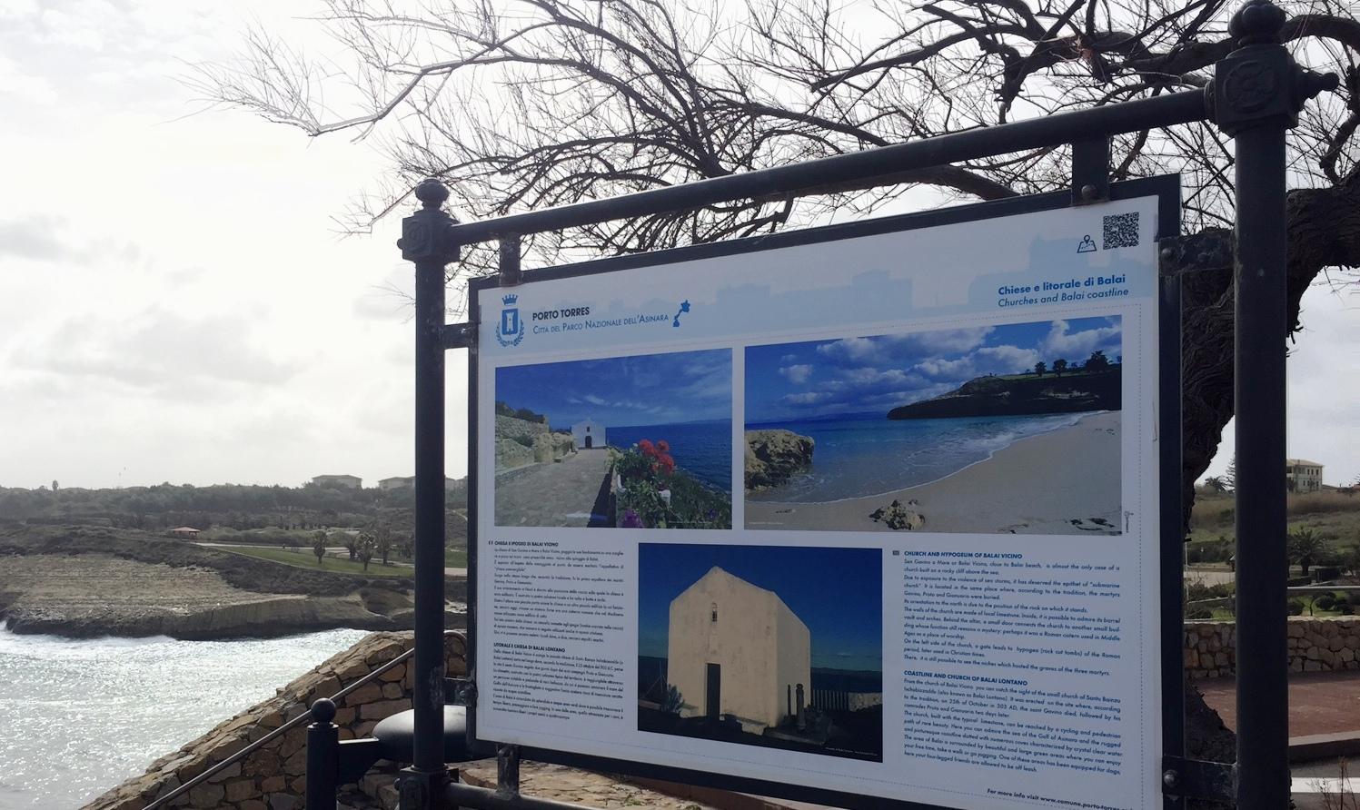 Pannello Balai. Febbraio 2015 Nuovi Cartelli Informativi nei Siti di Interesse Turistico. In evidenza la mappa della città e le immagini dei luoghi più suggestivi di Porto Torres.
