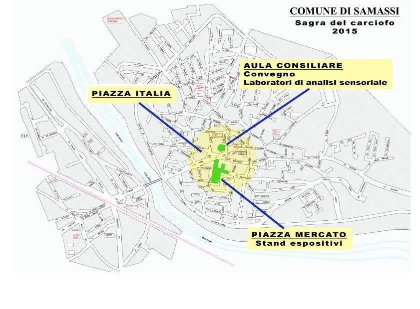 Cartina XXVIII Sagra del Carciofo Samassi 19 - 22 marzo 2015 percorsi didattici e convegno sul carciofo