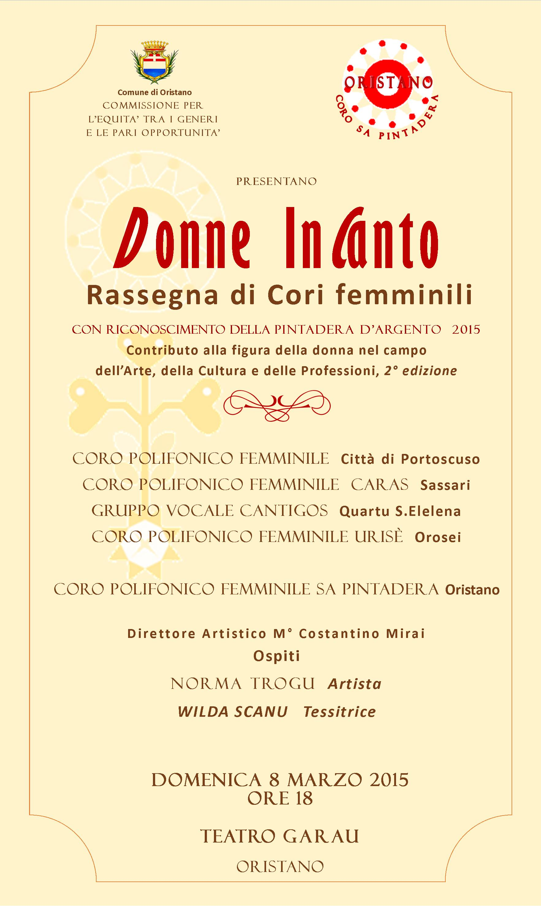 LOCANDINA DONNE INCANTO. Giornata internazionale della donna - Le iniziative in programma a Oristano.