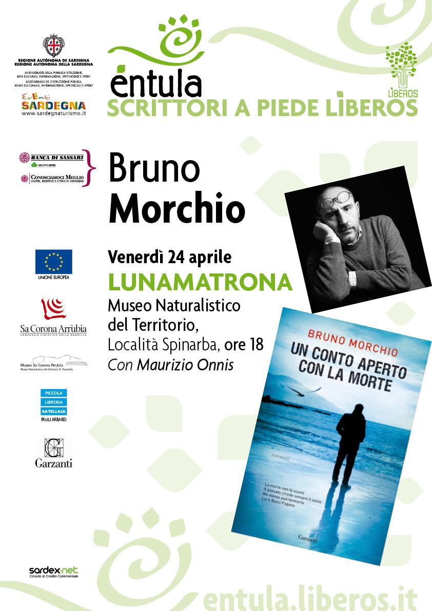 Entula scrittori A Piede Liberos Bruno Morchio venerdì 24 aprile Lunamatrona Museo Naturalistico del Territorio