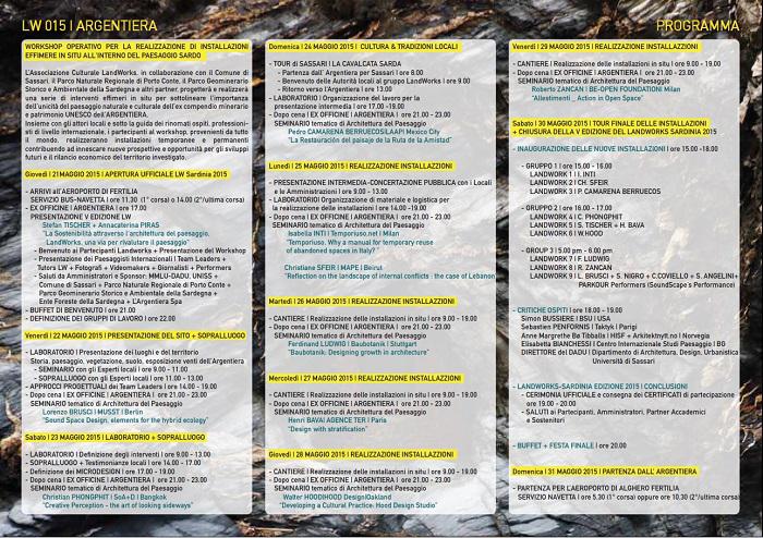 Landwork Argentiera 2015 programma