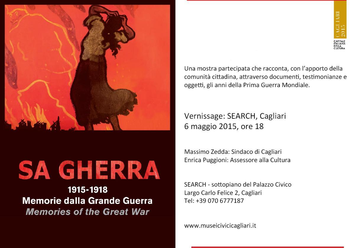 Sa Gherra 1915-1918 Vernissage Search Cagliari 6 maggio 2015 ore 18