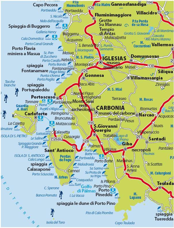 Cartina di tutte le spiagge presenti nel Sulcis Iglesiente