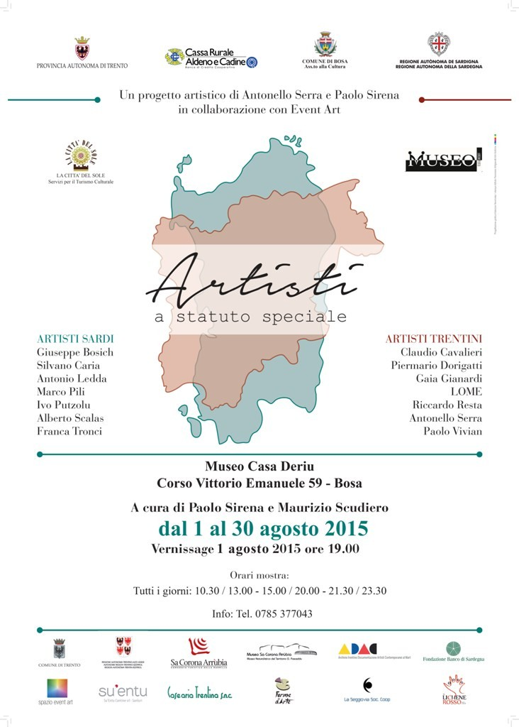 Artisti a Statuto Speciale Artisti sardi e Artisti trentini a confronto presso Museo Casa Deriu - Comune di Bosa dal 1 agosto 2015 al 30 agosto 2015.