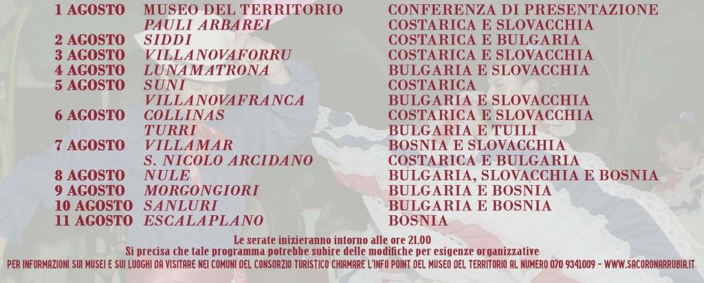 Programma Completo della X Edizione Festival Internazionale del Folklore Sa Corona Arrubia dal 1 al 11 agosto 2015.