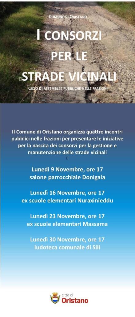 Strade vicinali a Oristano - Dal 9 al 30 Novembre 2015 quattro assemblee pubbliche nelle frazioni.