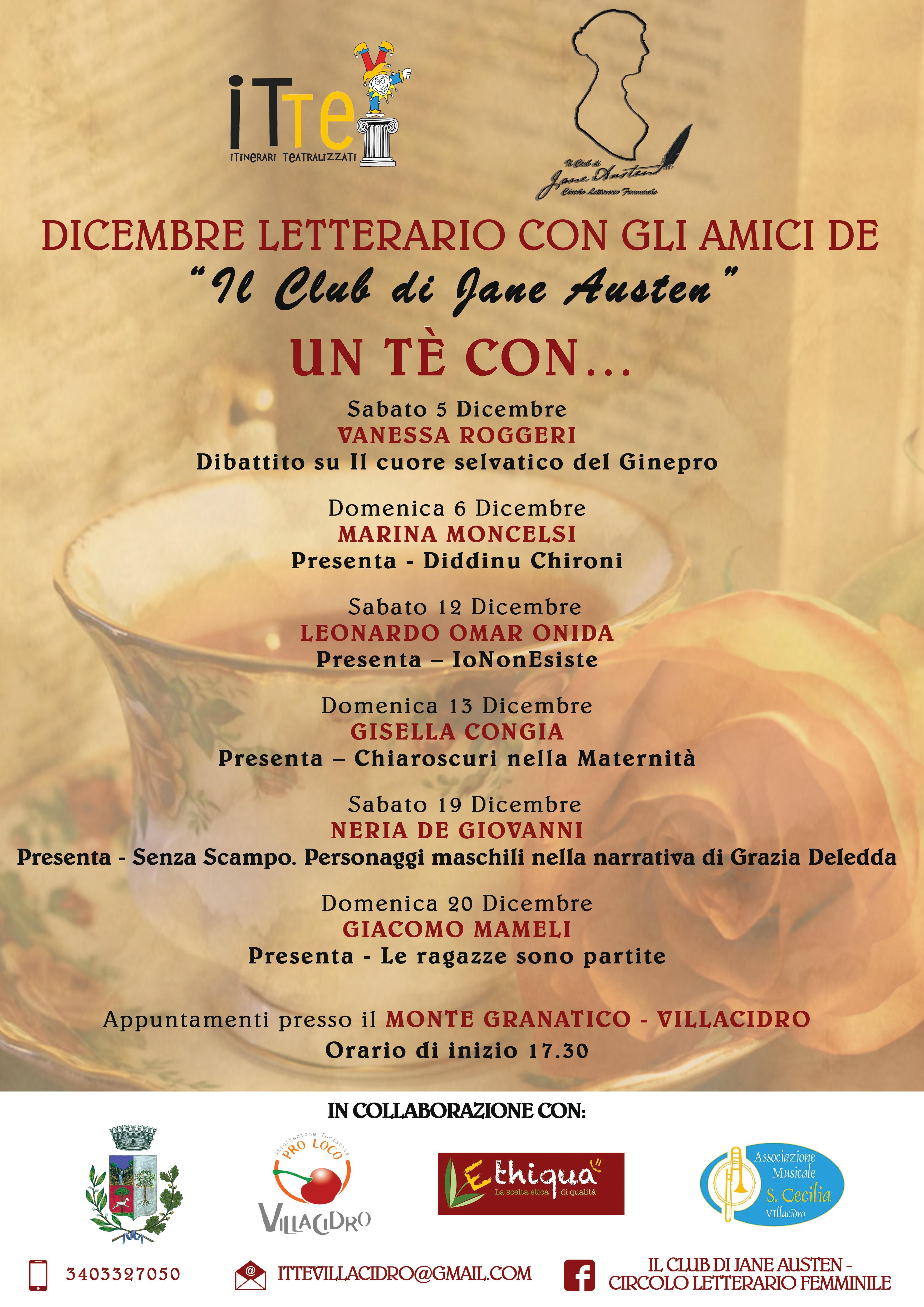 """Dicembre Letterario. Dicembre Letterario 2015 con gli amici de """"Il Club di Jane Austen-Circolo Letterario Femminile""""."""