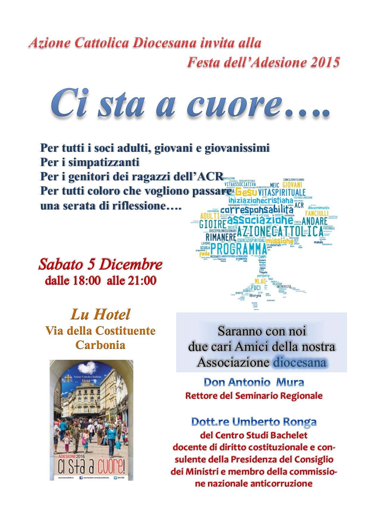 """L'Azione Cattolica Diocesana di Iglesias vi invita all'incontro """"Ci sta a cuore"""" presso il Centro Congressi del LU Hotel a Carbonia il 5 dicembre 2015."""