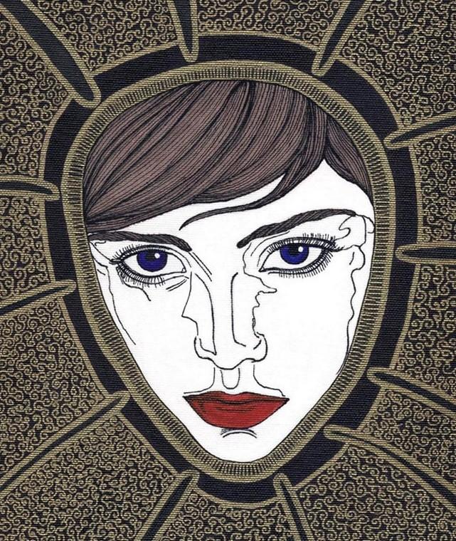 Dipinto raffigurante il volto femminile di una fata (jana) dipinto di Alessio Onnis