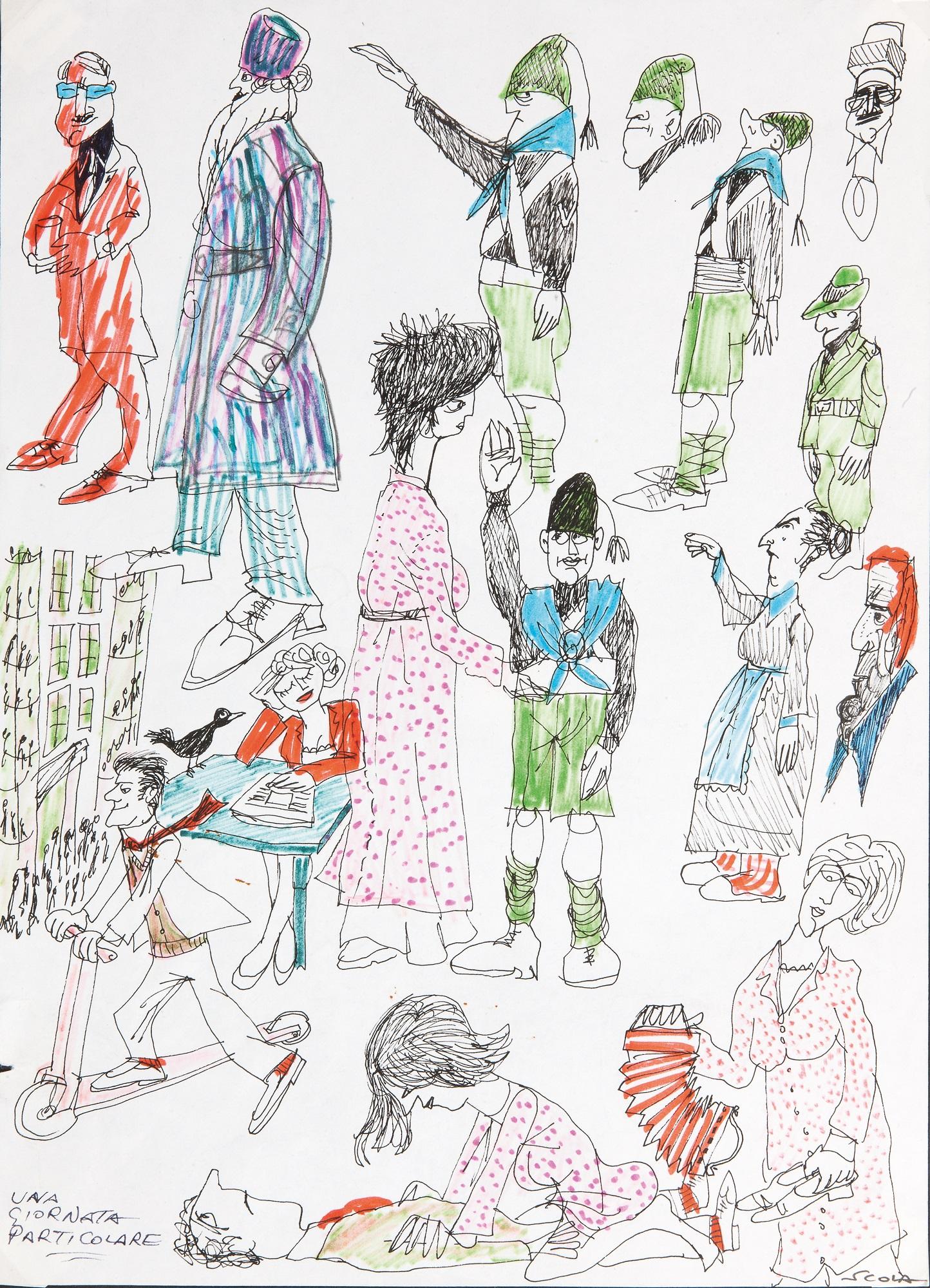 Disegno di Ettore Scola con tutti i personaggi di Una giornata Particolare. A pochi mesi dalla chiusura della mostra IL DI/SEGNO DEL CINEMA, muore Ettore Scola, che con i suoi disegni è stato uno dei principali fautori del successo dell'esposizione cagliaritana.