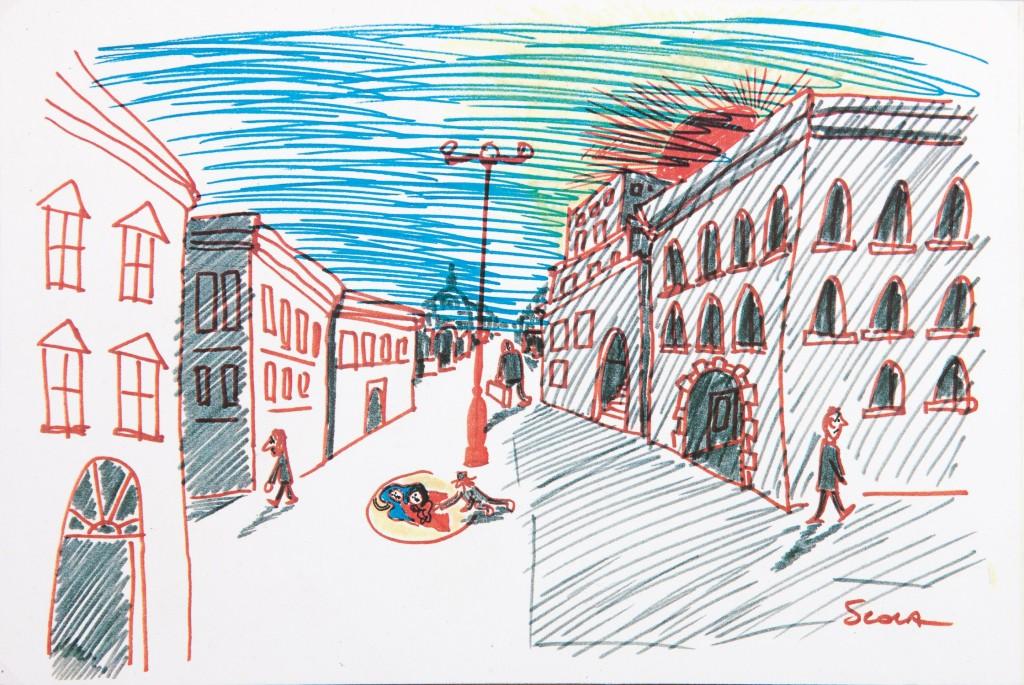 Disegno di Ettore Scola per C'eravamo tanto amati. A pochi mesi dalla chiusura della mostra IL DI/SEGNO DEL CINEMA, muore Ettore Scola, che con i suoi disegni è stato uno dei principali fautori del successo dell'esposizione cagliaritana.