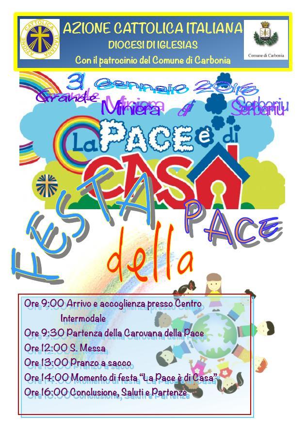 La Festa della Pace si svolgerà a Carbonia il 31 gennaio 2016