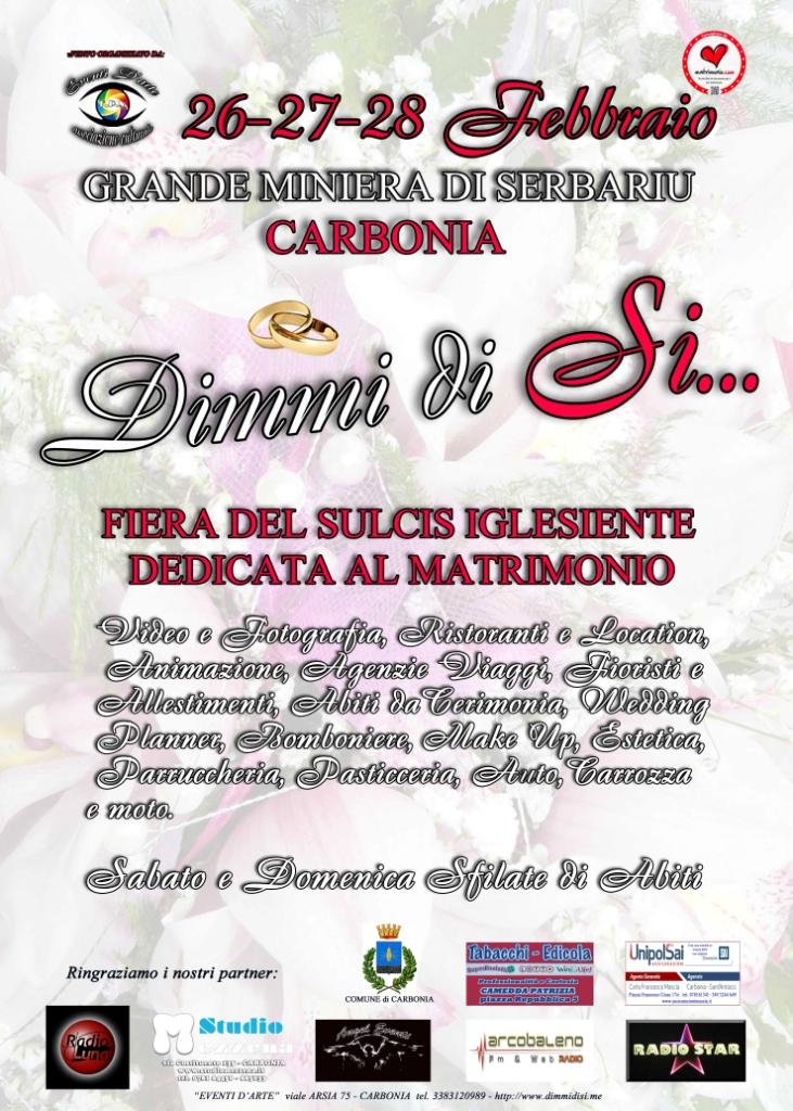"""Fiera """"Dimmi di Sì …"""" appuntamento dedicato al romantico mondo delle Nozze in programma a Carbonia il 26-27-28 febbraio 2016."""