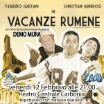 Vacanze rumene spettacolo teatrale venerdì 12 febbraio ore 21 presso il Teatro Centrale di Piazza Roma a Carbonia. Ingresso gratuito.
