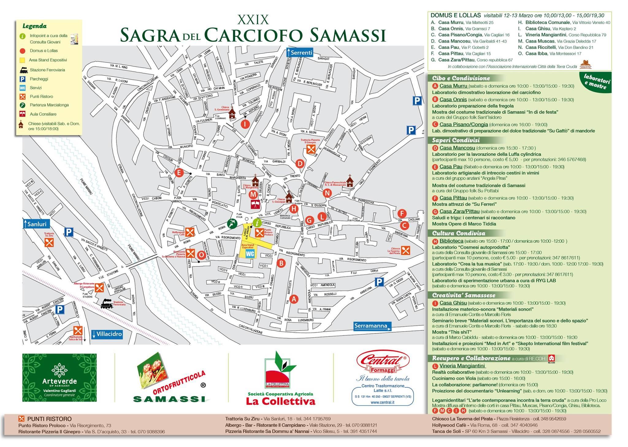 Cartina con punti ristoro della XXIX Sagra del Carciofo di Samassi 13 Marzo 2016