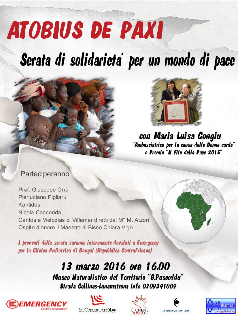 """Domenica 13 marzo alle ore 16 presso il Museo Naturalistico del Territorio """"G. Pusceddu"""" andrà in scena la solidarietà con lo spettacolo musicale """"Atobius de paxi""""."""