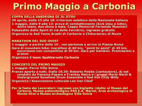 1 maggio 2016 a Carbonia programma completo