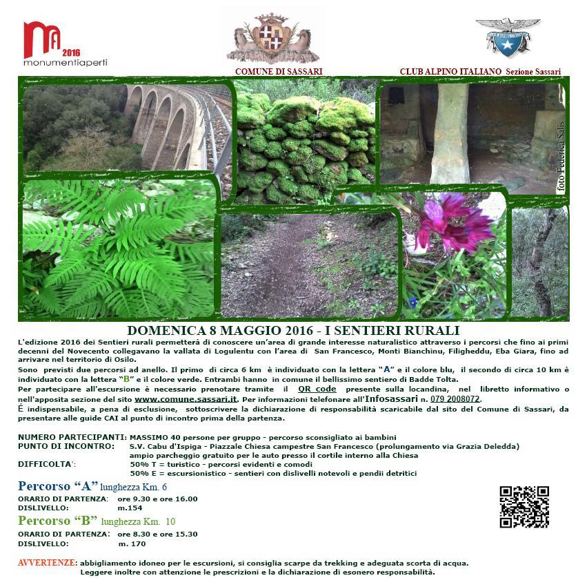 Monumenti aperti Sassari 2016 Domenica 8 I Sentieri Rurali