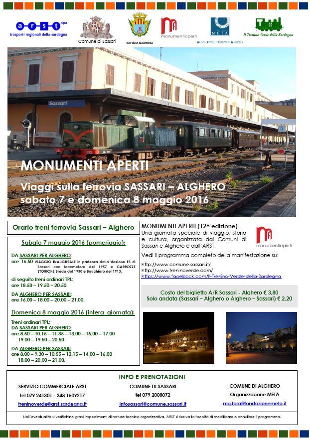 Monumenti aperti viaggi sulla ferrovia Sassari-Alghero sabato 7 e domenica 8 maggio 2016