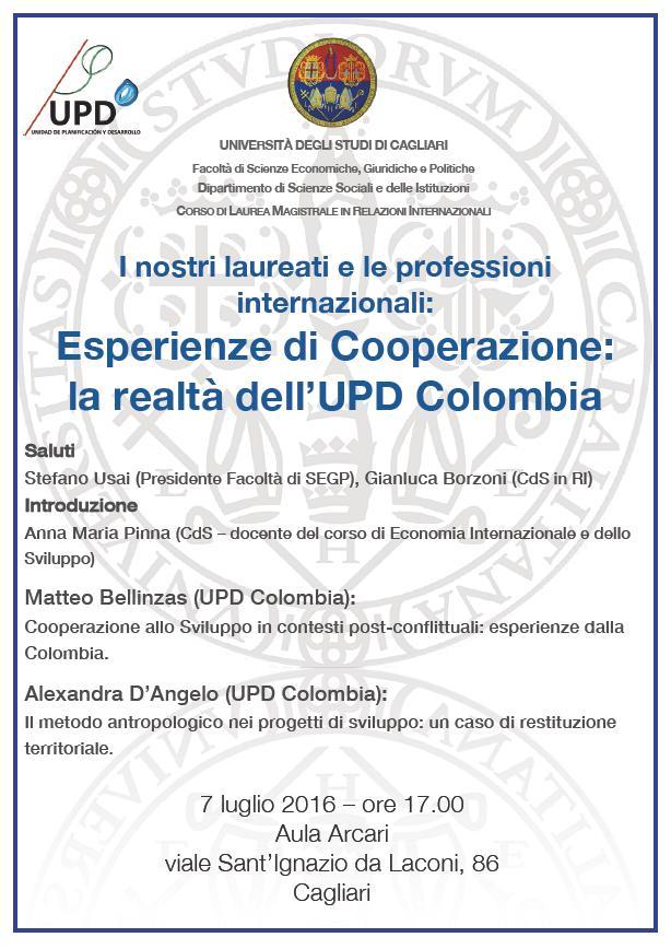 Seminario UPD Columbia 7 luglio 2016 Cagliari Aula Arcari