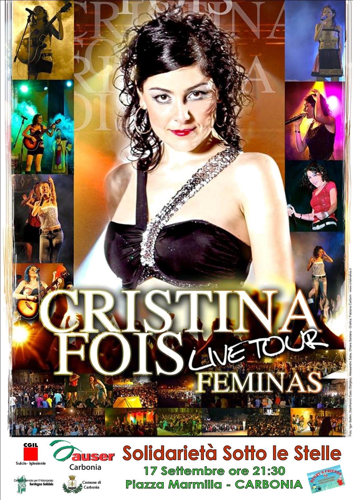 Cristina Fois live Tour Feminas Piazza Marmilla 17 settembre Carbonia.