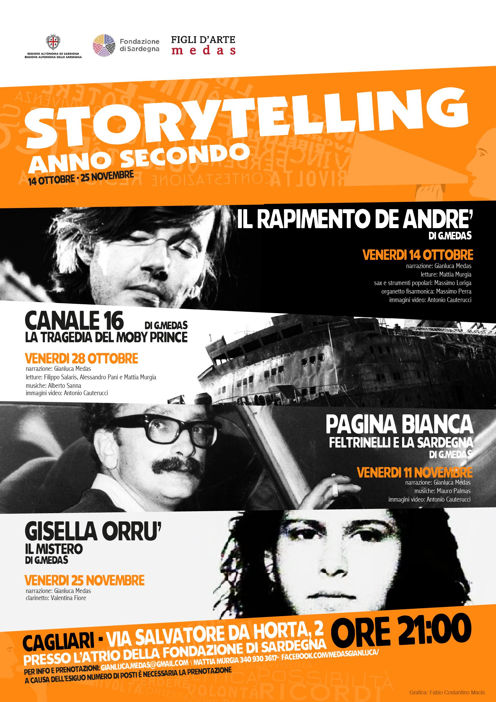 """L'intento di Storytelling 2016 è quello di celebrare l'informazione indipendente senza fare teatro, senza fare televisione, senza fare narrazione ma giocando con queste """"grammatiche"""" per realizzare qualcosa di nuovo. È un esperimento, una sorta di sincretismo tra le varie forme di comunicazione per offrire un'informazione alternativa che porti al cuore pulsante dei fatti. Sono 4 date, 4 fatti di cronaca caratterizzati da punti oscuri e misteri irrisolti in cui il comun denominatore è sempre la Sardegna."""
