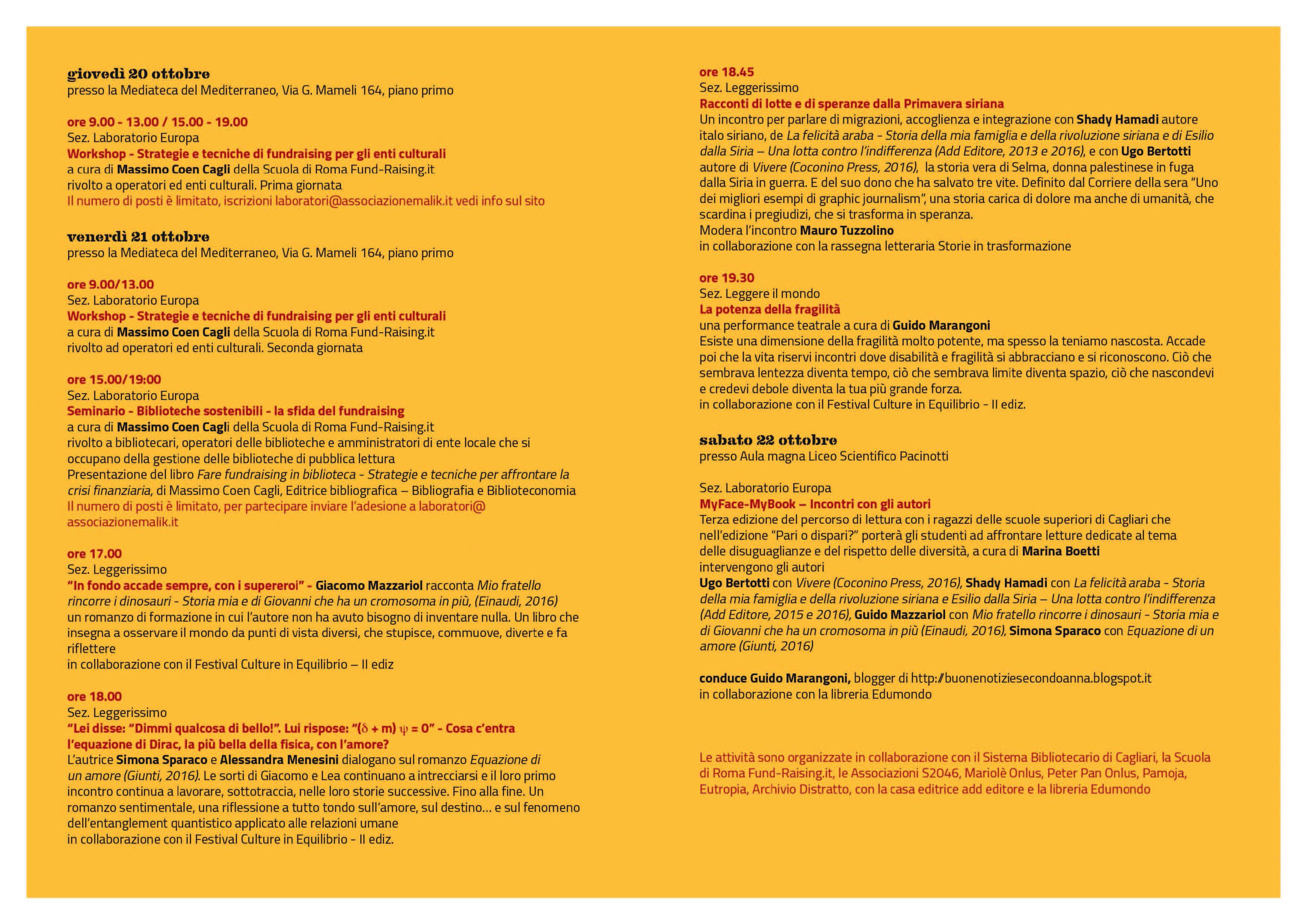 I libri aiutano a leggere il Mondo 2016 Cagliari MEM Programma Completo dal 20 al 22 ottobre