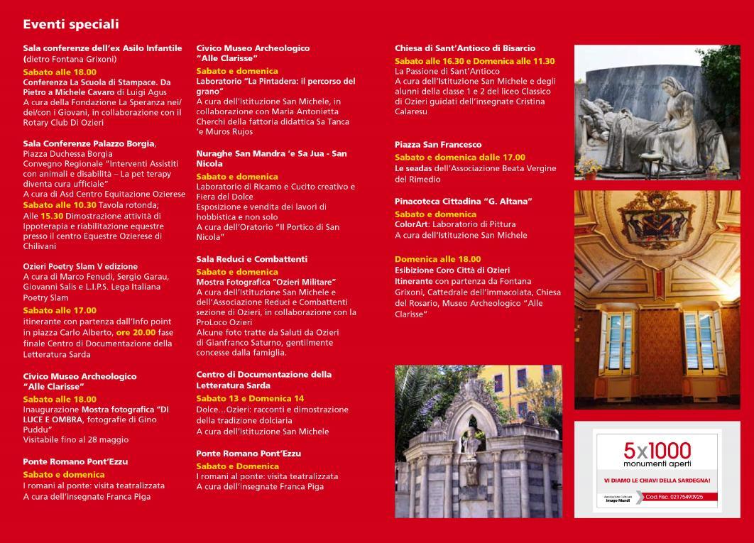 Eventi Speciali Monumenti Aperti Ozieri 13 e 14 maggio 2017
