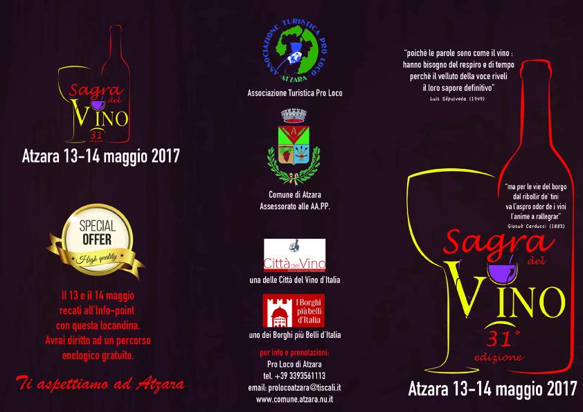 Sagra del Vino ad Atzara dal 13 al 14 maggio 2017