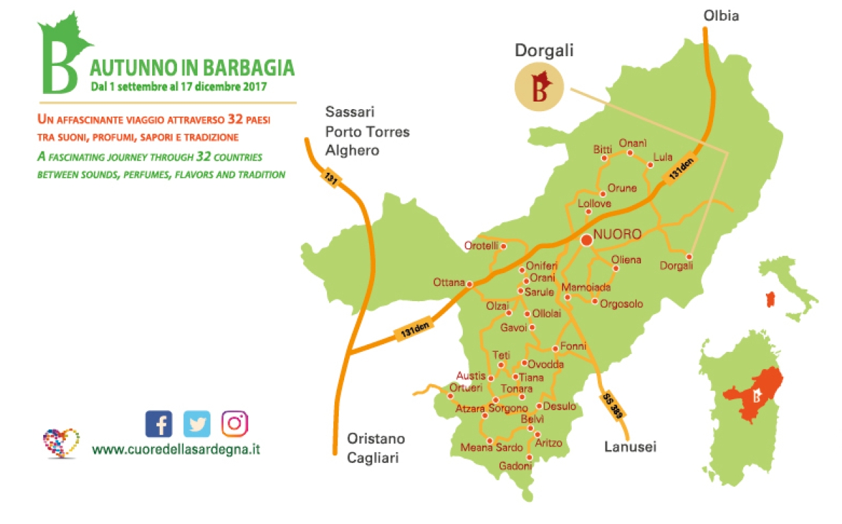 Dorgali Autunno in Barbagia 2017 Cartina e programma completo.