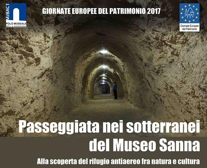 Museo Sanna Sassari Giornate europee del patrimonio 2017, Apertura straordinaria domenicale il 24 settembre 2017 del Museo Sanna con visita guidata al rifugio antiaereo a cura del Gruppo Speleologico Sassarese.