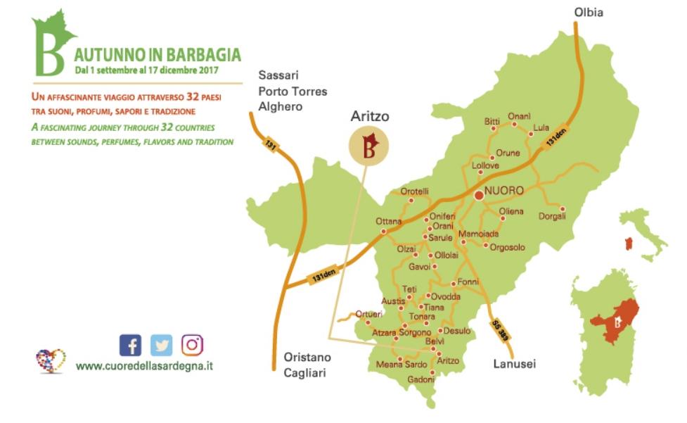 Aritzo Cortes Apertas 28 e 29 ottobre 2017 programma completo e cartina
