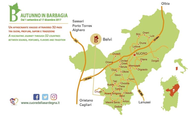 Belvì Cortes Apertas 21 e 22 ottobre 2017 Giochi e sapori in Barbagia Programma Completo e Cartina