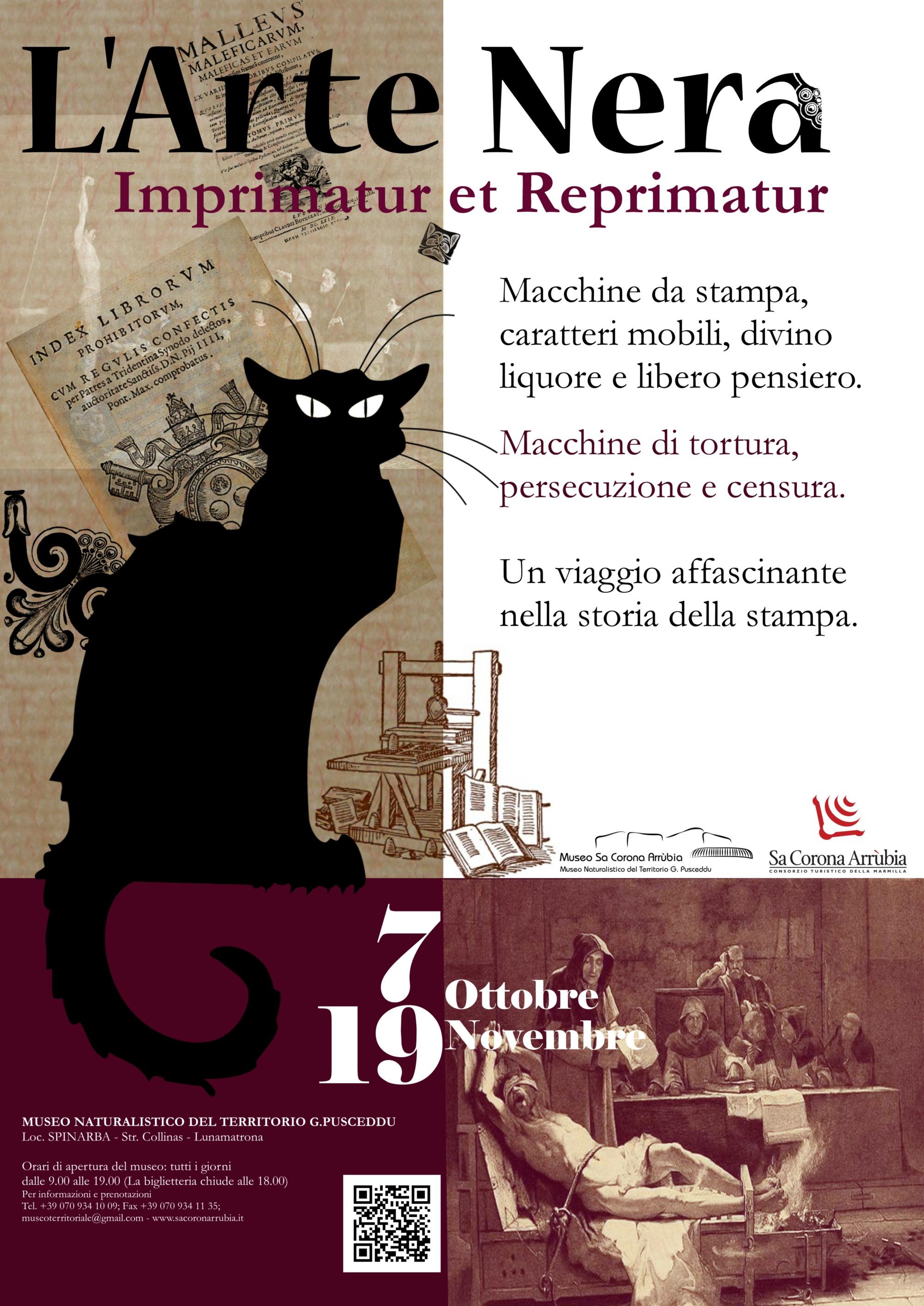 """Museo Sa Corona Arrùbia sabato 7 ottobre 2017 inaugurazione della mostra """"L'ARTE NERA. IMPRIMATUR ET REPRIMATUR""""."""