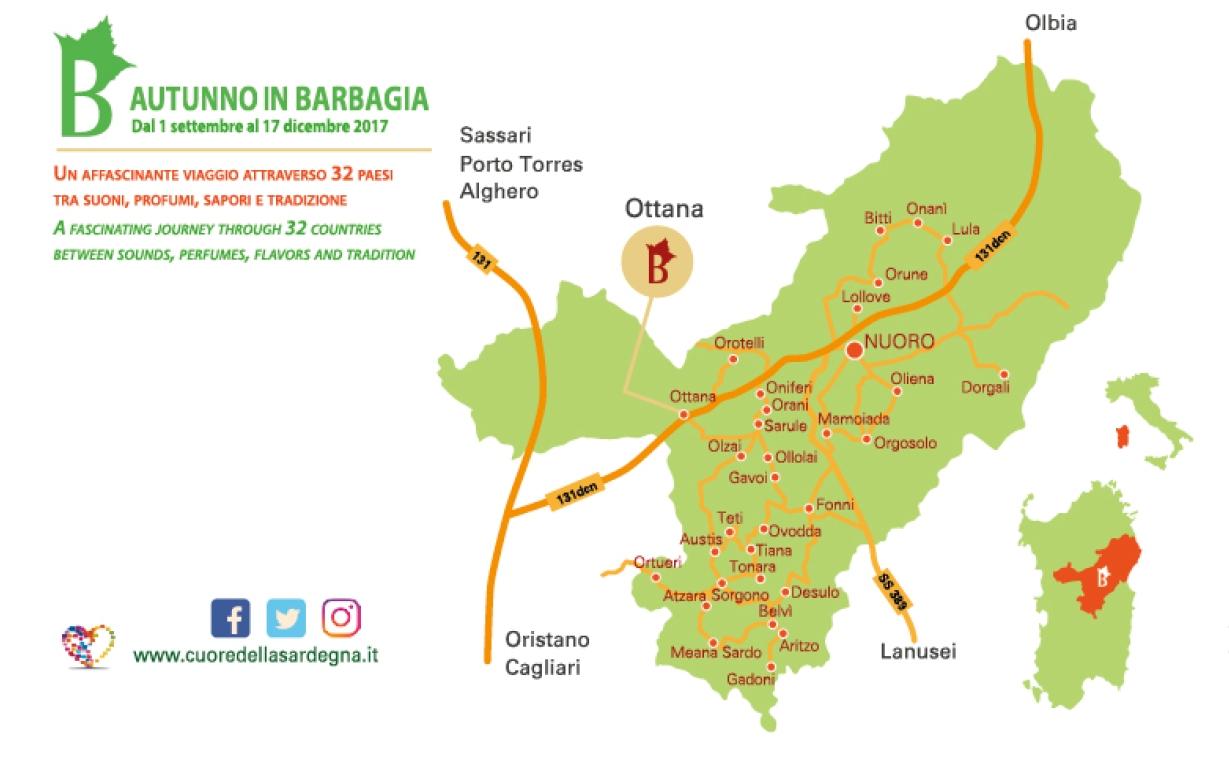 Ottana Cortes Apertas 28 e 29 ottobre 2017 programma completo e cartina