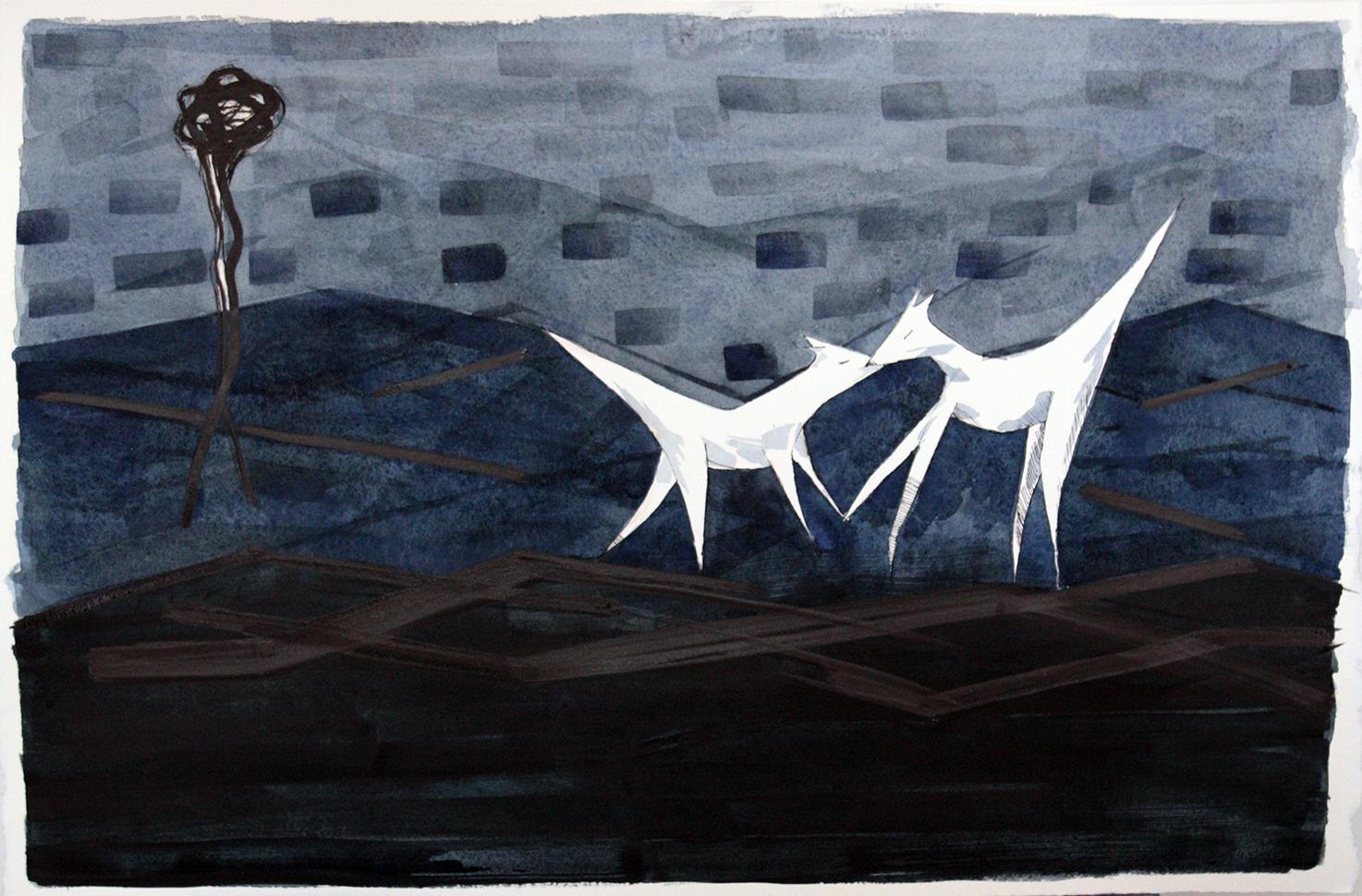 Paulina Herrera Letelier Due lupi blu. Venerdì 6 aprile 2018 alle 18, nelle sale del Centro comunale d'arte il Ghetto, inaugura Tratti illustri. Illustrazione contemporanea in Sardegna, mostra ideata e curata da Roberta Vanali e realizzata in collaborazione del Consorzio Camù.