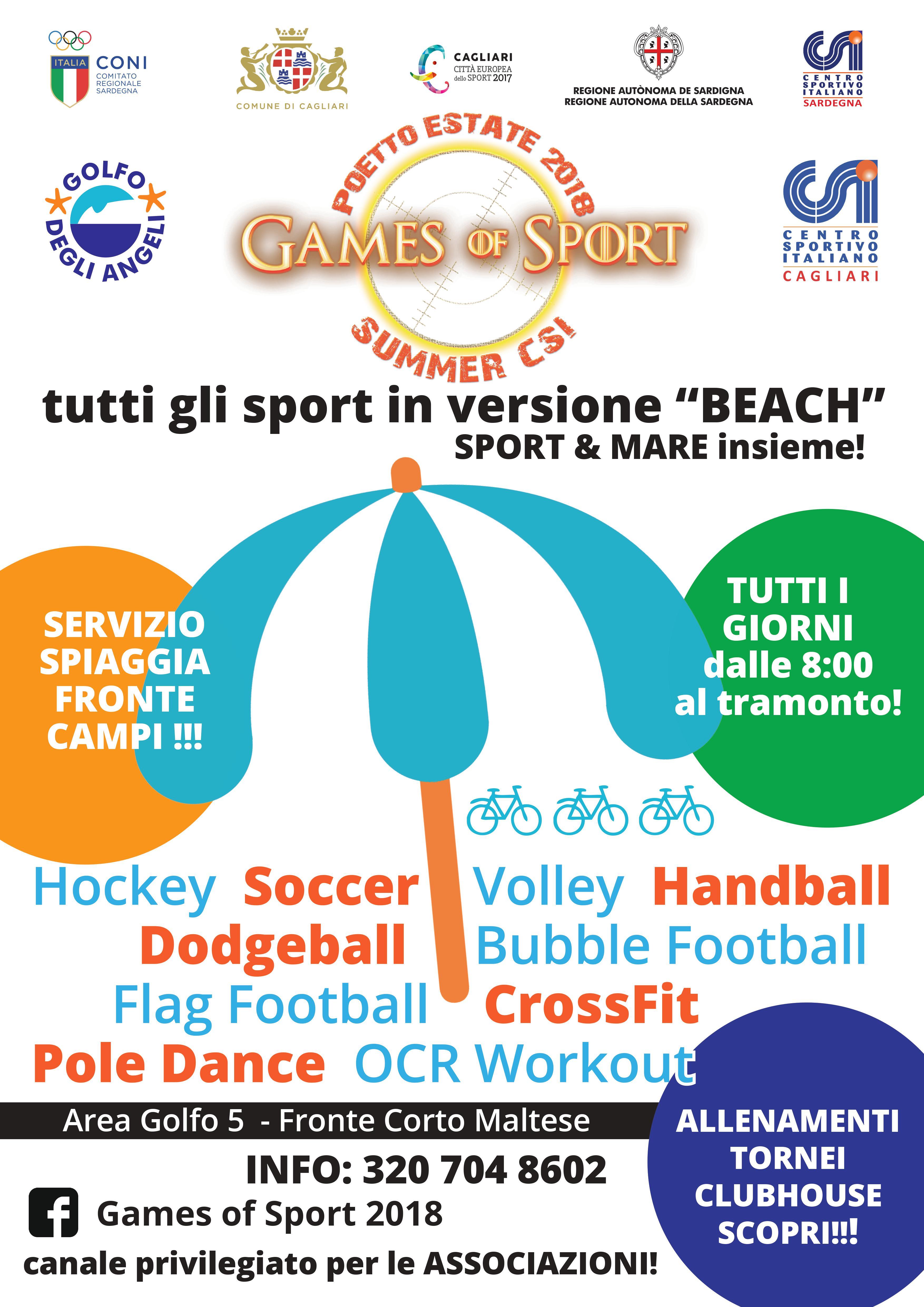 Poster Games Of Sport 2018. Torna al Poetto fino al 5 Agosto 2018 Games Of Sport che anche quest'anno accenderà l'estate cagliaritana.