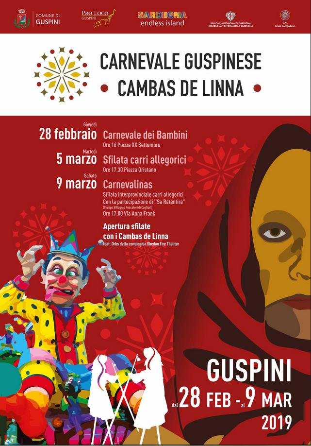 Carnevale Guspinese 2019 Programma. Carnevale di Guspini 2019. Carnevale di Guspini 2019. Al via il XXIX Carnevale Guspinese Cambas del Linna edizione 2019 tra carri allegorici e maschere tradizionali.
